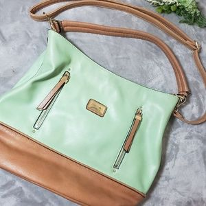 Simply Noelle mint and brown bag. One Size